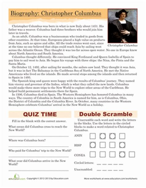 christopher columbus printable biography christopher columbus biography worksheet education com