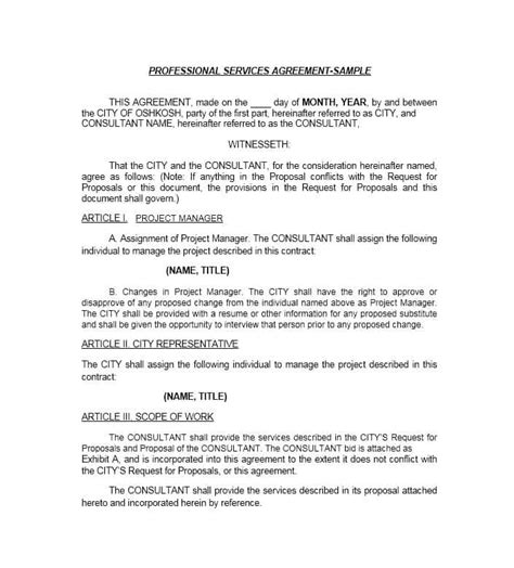 service contract 50 professional service agreement templates contracts