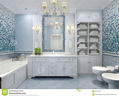 Coloured Bathroom Furniture Furniture In Classic Blue Bathroom Stock Photo Image 59223101