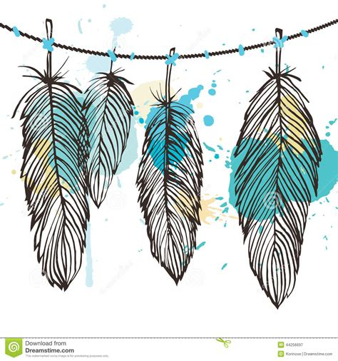 aquarelle feather set stock vector image 44256697