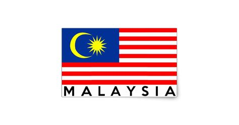 Bath Wall Stickers malaysia flag country text name rectangular sticker
