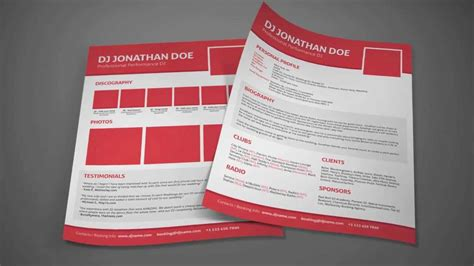 press kit template dj resume dj press kit template