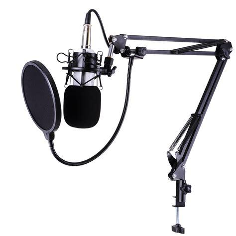 Stand Mic Boom Pop Filter condenser microphone kit studio pop filter boom scissor arm stand shock mount