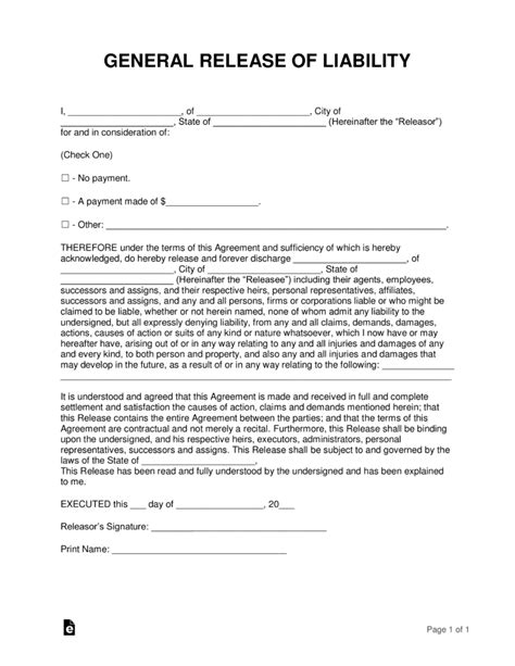 Free Release Of Liability Hold Harmless Agreement Template Word Pdf Eforms Free Free General Liability Release Form Template