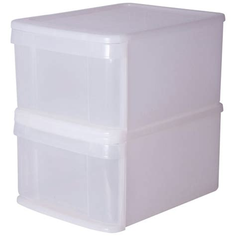buy home set of 2 stackable plastic drawers white at