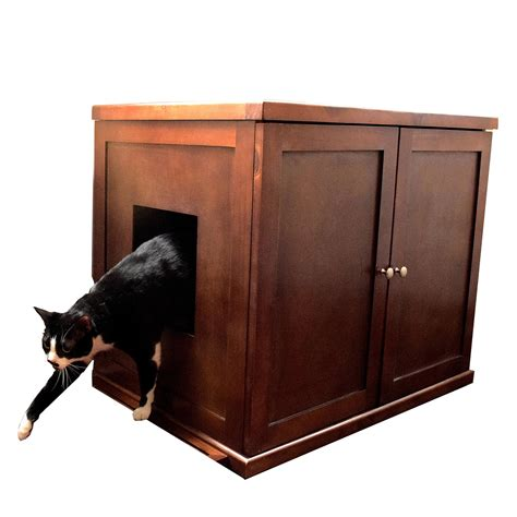 litter box cabinet the refined feline litter box large mahogany ca pet supplies
