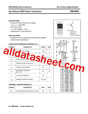transistor company 2sa940 datasheet pdf inchange semiconductor company limited