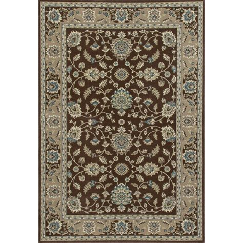 10 X 15 Area Rug Carpet Kensington Jacobean Border Brown 10 Ft 11 In X 15 Ft Area Rug 841864105193 The