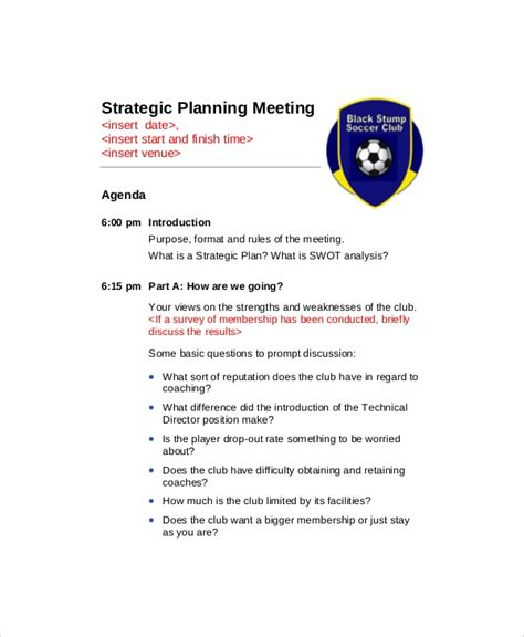 strategy meeting agenda templates  sample