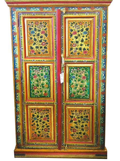 hand painted armoires indian jaipur armoire hand painted floral cabinet by