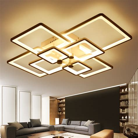 Living Room Led Ceiling Lights Aliexpress Buy New Square Rings Designer Modern Led Ceiling Lights L For Living Room