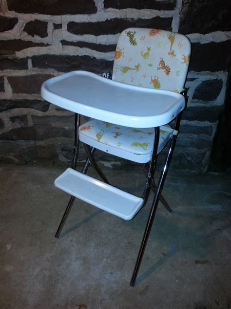 vintage folding wooden high chair vintage 1960s 60s cosco animal print vinyl metal folding