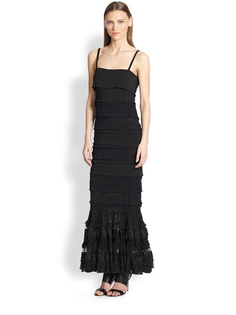 Tier Maxi Dress jean paul gaultier tiered maxi dress in black lyst