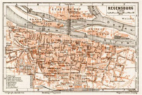 regensburg germany map map of regensburg in 1909 buy vintage map replica