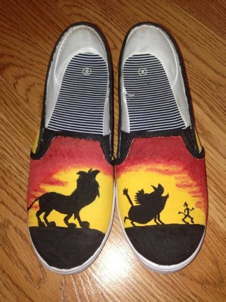hand painted lion king shoes  kccrafts  zibbet
