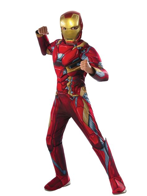 marvel civil war boys deluxe muscle chest iron man costume