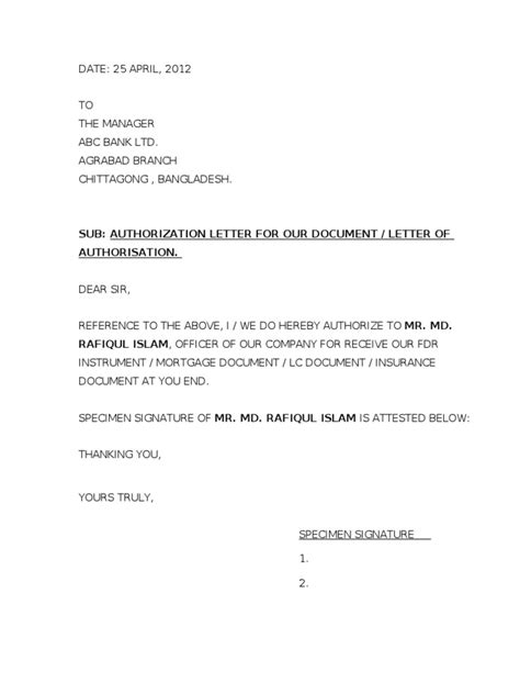 authorization letter in claiming documents authorization letter to claim documents