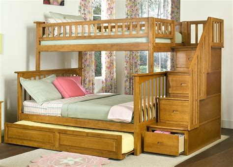 Bunk Beds With Trundle Bed Trundle Bunk Bed With Stairs Columbia Stair Bunk Bed With Trundle In Caramel Latte By
