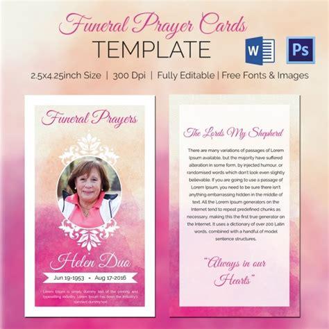 Free Prayer Card Template For Word by Funeral Prayer Cards Templates Free 20 High