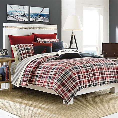 plaid coverlet nautica 174 mainsail plaid comforter set bed bath beyond