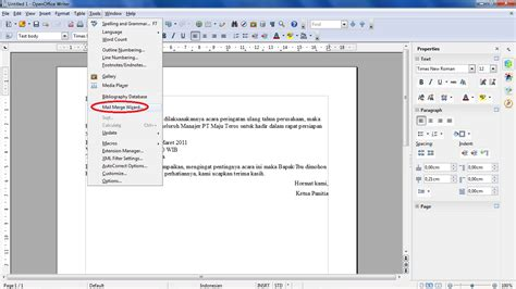 membuat mail merge openoffice membuat e mail pada merge di open office intan lestari