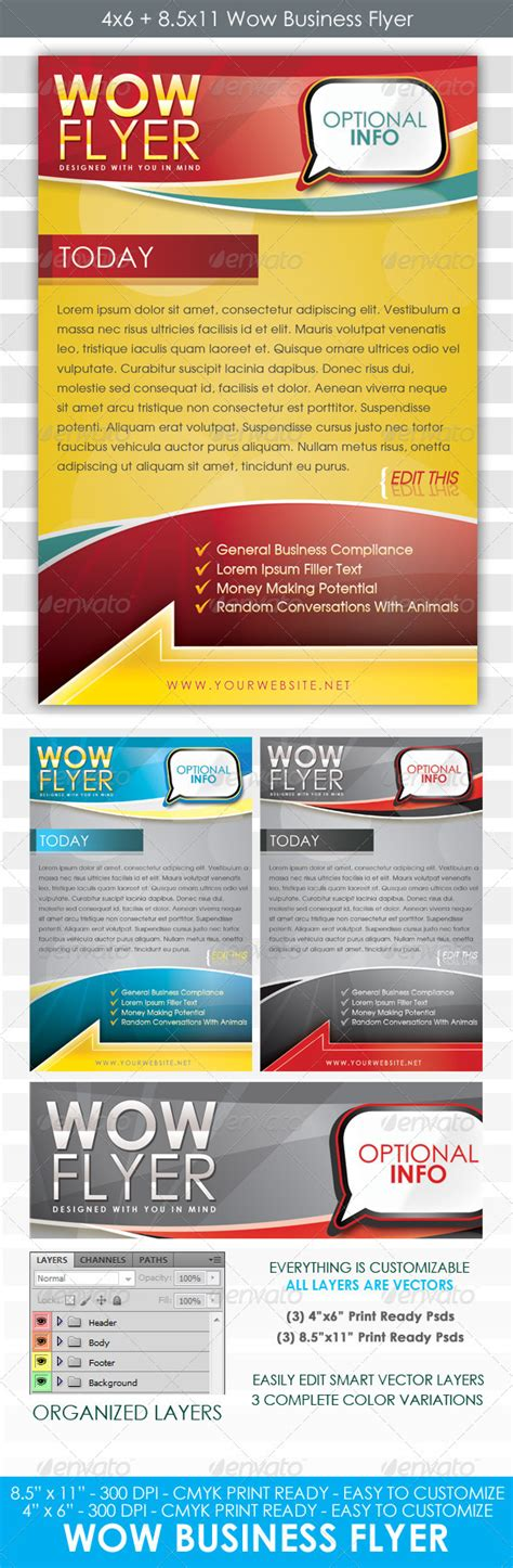 Wow Flyer 4x6 And 8 5x11 Business Template Graphicriver 4x6 Flyer Template