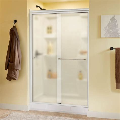 Sliding Shower Door Hardware Delta Simplicity 48 In X 70 In Traditional Sliding Shower Door In White With Chrome Hardware