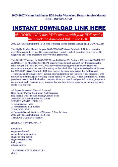 best auto repair manual 2007 nissan pathfinder security system 2005 2007 nissan pathfinder r51 series workshop repair service manual best download by kato