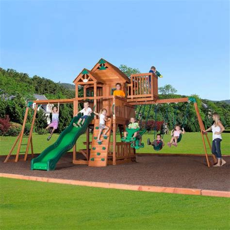 walmart playsets for backyard backyard discovery skyfort ii swing set walmart ca