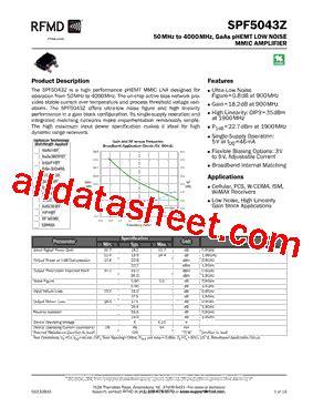 datasheet of rf diode spf5043zsq datasheet pdf rf micro devices