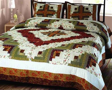 Handmade Cotton Quilts - decor 101825 q log cabin quilt size handmade