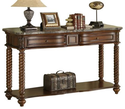 homelegance lockwood rectangular sofa table with marble