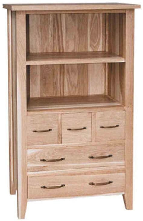 new court oak small bookcase with 5 drawers oak