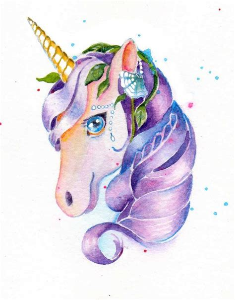 painting unicorn unicorn tears purple painting watercolor by