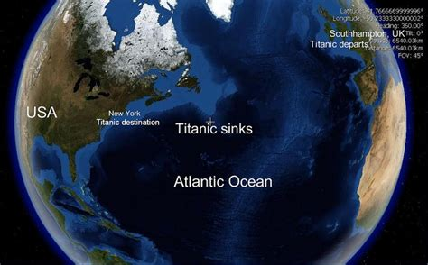 Where Did Titanic Sink Earth by Where Did The Titanic Sink On A World Map Sinks Ideas