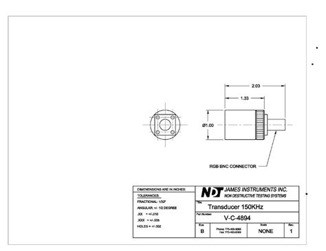 mechanical drawing template 150 khz dia 09in length 134in