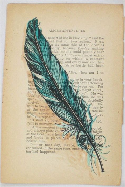 feather pen tattoo blue feather on paper on printed paper