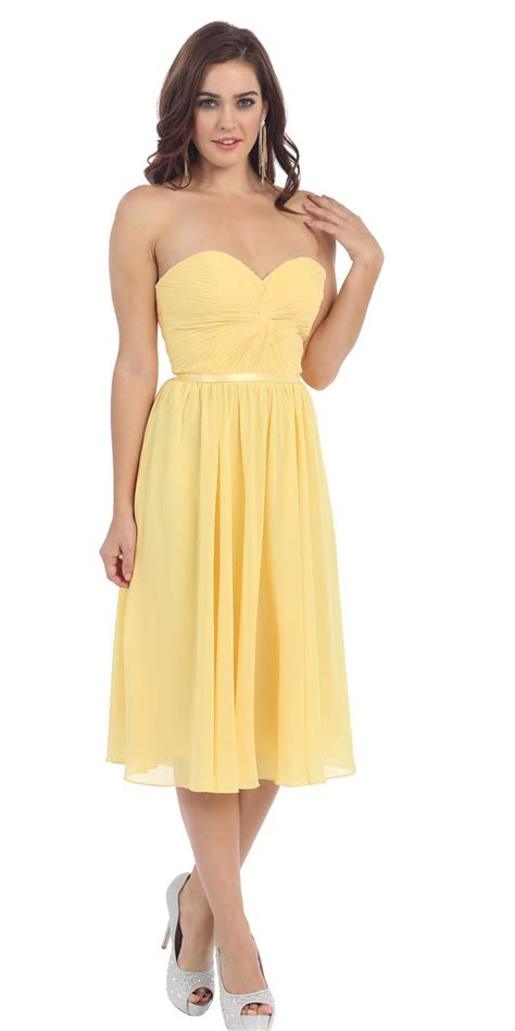 Dress A24397 Yellow M yellow strapless ruched dress yellow prom bridesmaid dresses