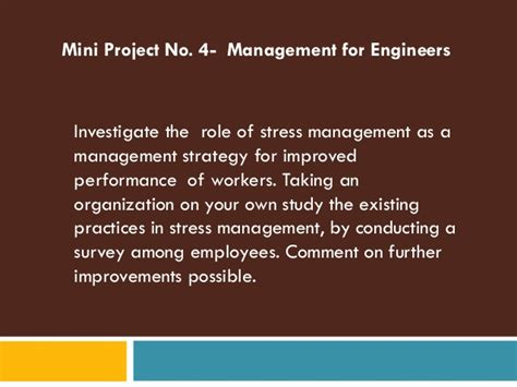 Stress Management Project Report Mba by Stress Mini Project 05 2012