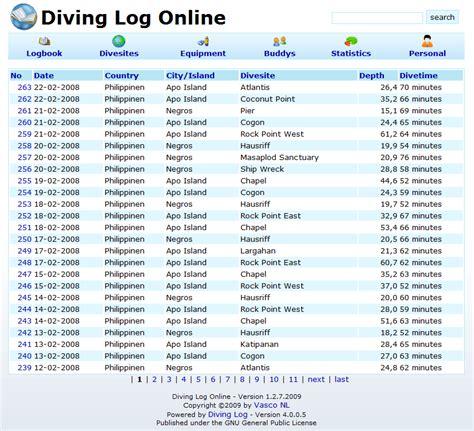 dive log export 171 diving log