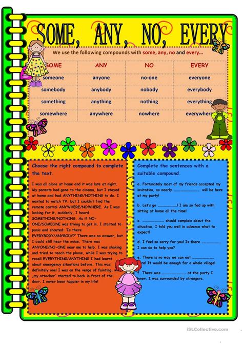 some any no every worksheet free esl printable