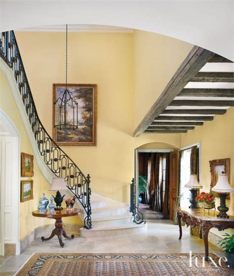 french country foyer  staircase luxe interiors design