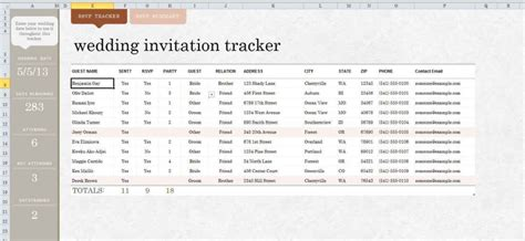 Wedding Guest List Spreadsheet Template Wedding Spreadsheet Spreadsheet Templates For Busines Wedding Guest List Template Excel