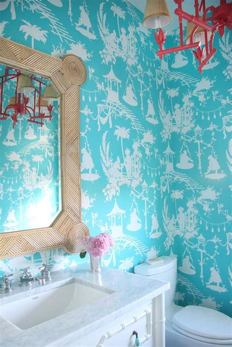 Bathroom Wallpaper Turquoise Turquoise Tole Powder Room Wallpaper Asian Bathroom