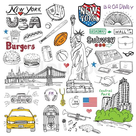 design elements newspaper new york city doodles elements hand drawn set with taxi