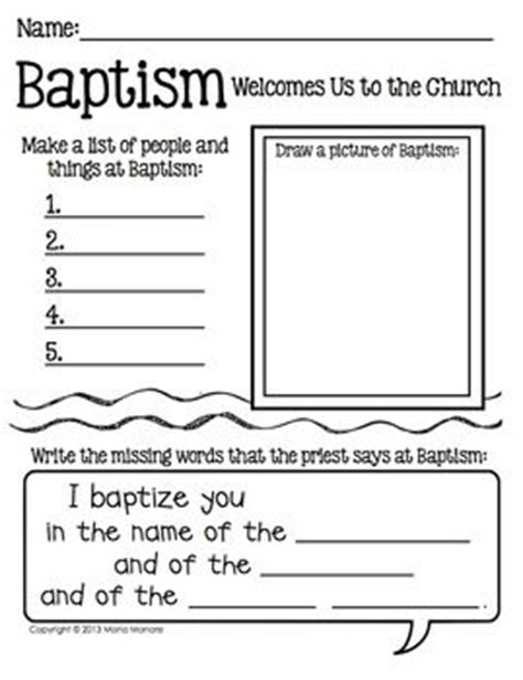 baptism writing response page for grades k 1