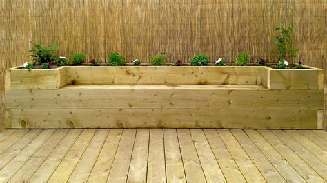 garden bench made from decking softwood decking for the garden with a full depth raised