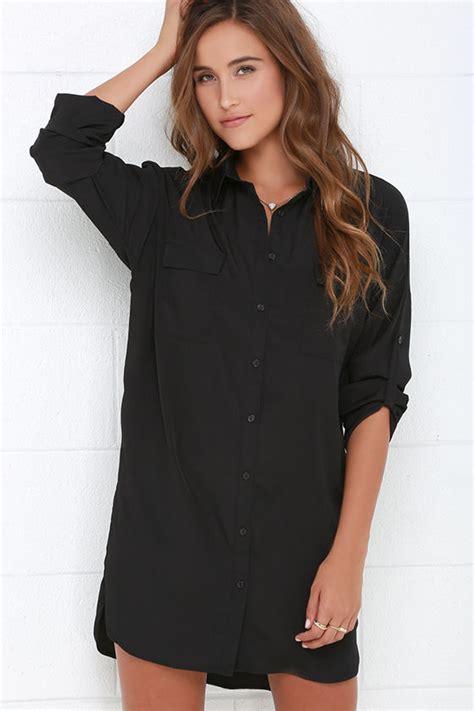 Back Shirt Dress Black Dress Shirt Dress Sleeve Dress Shift