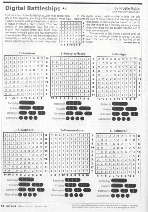 printable battleships puzzle digital battleships variant puzzle description