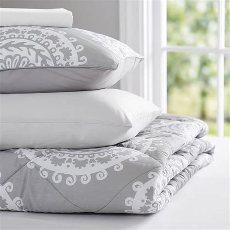 medallion comforter sets medallion florette value comforter set light gray pbteen